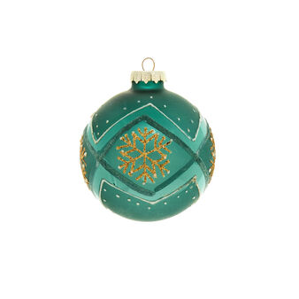 Peacock-coloured glass bauble with Christmas star D 8cm