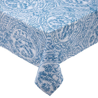 100% cotton water-repellent tablecloth with damask print