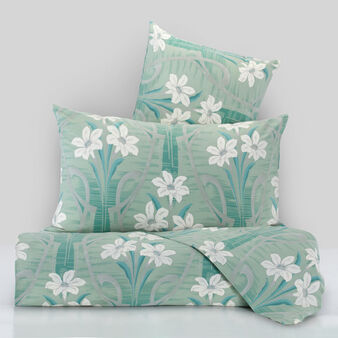 Percale duvet cover set with lily print