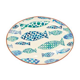 Piatto ovale da portata ceramica portoghese pesci