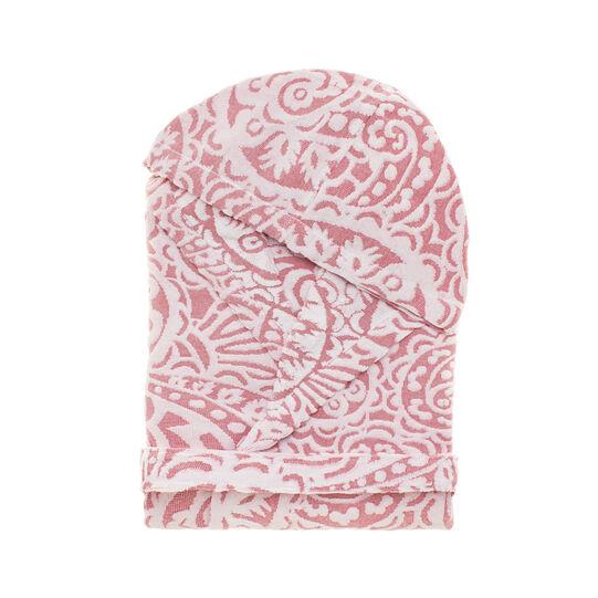 Bathrobe in 100% cotton with velvet decoration