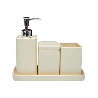Set 4 accessori bagno ceramica