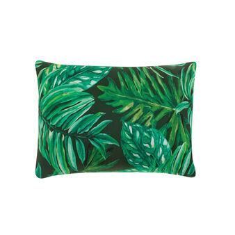 Cuscino rettangolare puro cotone stampa foglie tropicali