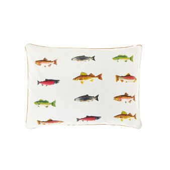 100% cotton cushion with sardines print