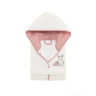 Terry bathrobe with rabbit patch