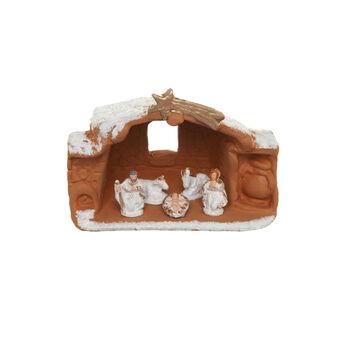 Nativity Crib in ceramics with ox and donkey