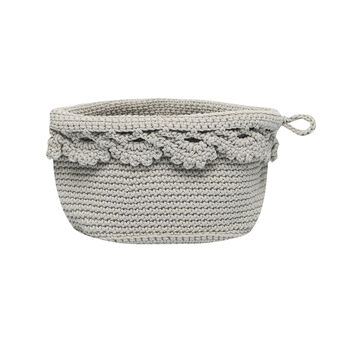 Crocheted round basket