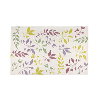 Cotton bath mat with botanical print