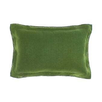 100% linen cushion with overlock stitching