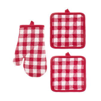 Set of 2 yarn-dyed check pot holders and oven mitt