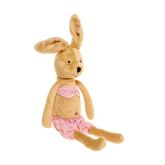 Small girl rabbit soft toy with micro-check costume