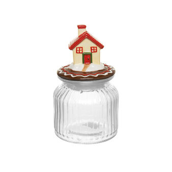 Glass jar with house lid