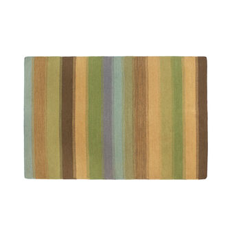 Wool rug with stripes