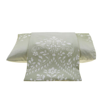 Cotton satin duvet cover with damask pattern
