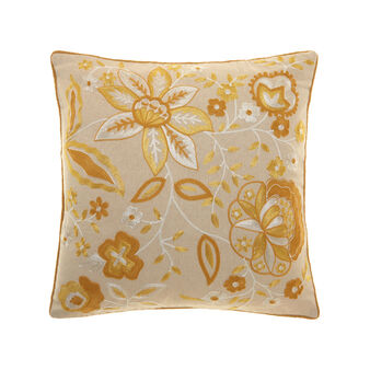 Cushion with floral embroidery and edging