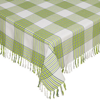 Yarn-dyed, fringed tablecloth in 100% cotton
