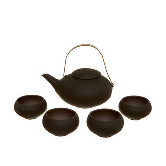 Set teiera e ciotole in ceramica