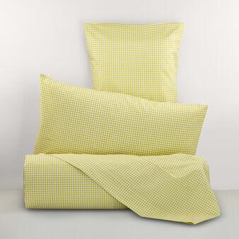 100% cotton percale micro check bed linen set