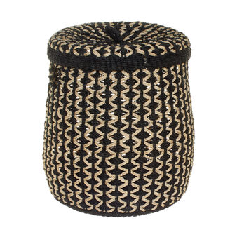 Tall basket in two-tone abaca