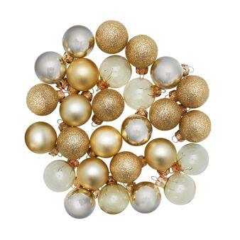 Set 27 palline natalizie in vetro colorato D 3cm