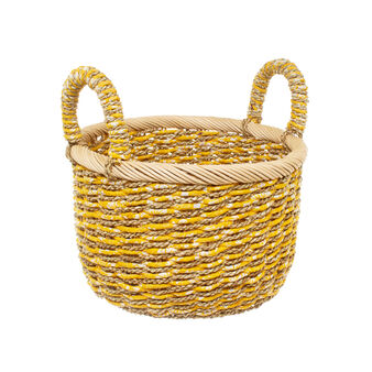 Woven fabric and abaca basket