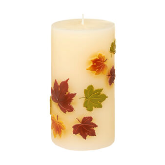 Candle with embossed leaf design