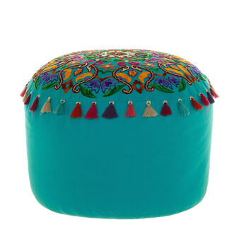 Pouf with floral embroidery and tassels