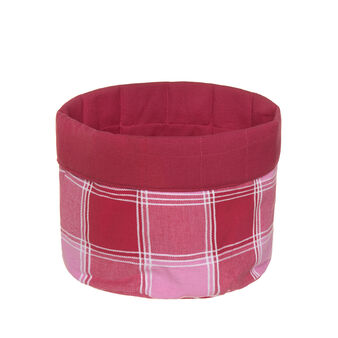 Round yarn-dyed, degradé check basket in 100% cotton