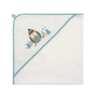 Towel with owl-printed hood