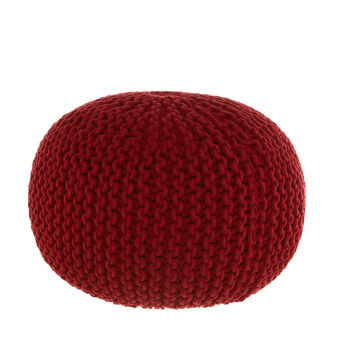 Round knitted pouf with knotted motif