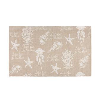 Cotton bath mat with marine print