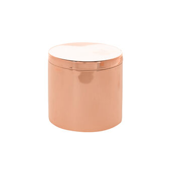 Copper-coloured metal cotton wool container