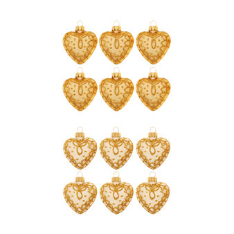 Set of 6 heart-shaped glass decorations with assorted glitter