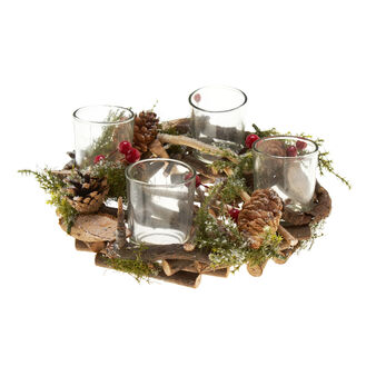 Candle holder wreath with pine cones and branches D 23 cm.