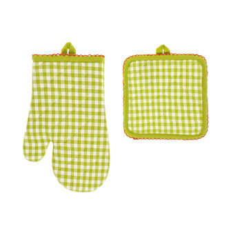Oven mitt and pot holder set in 100% yarn-dyed cotton