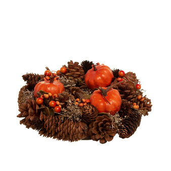 Autumn wreath with pine cones, sticks and pumpkins