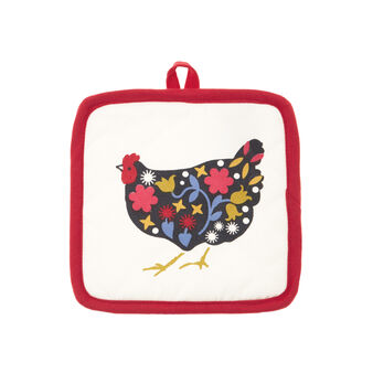 Gipsy Hen quilted cotton pot holder