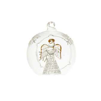 Transparent glass bauble with angel D 8cm