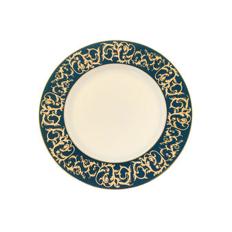 Serving platter in fine bone china with decorated edge