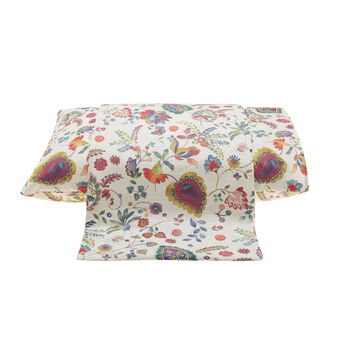Percale duvet cover with digital floral print