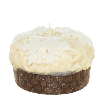 Panettone candle with white chocolate and snowflakes