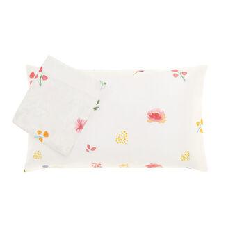 Cotton satin bed linen set with flower print