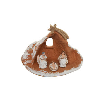 Nativity Crib, hand made in ceramics with the comet