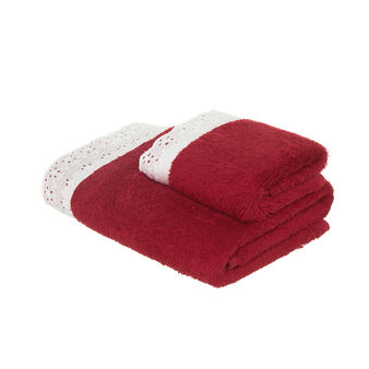 Set consisting of solid colour face towel and guest towel in 100% cotton terry with broderie frill