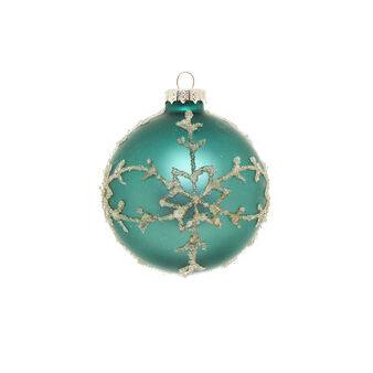 Peacock-coloured glass bauble with micro-spheres D 8cm