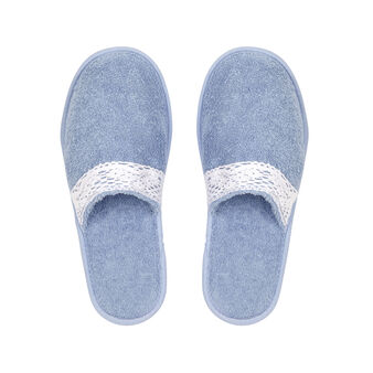 100% cotton lace terry slippers