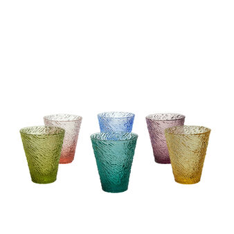 Set of 6 multi-coloured glasses