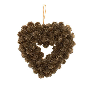 Heart-shaped wreath with pine cones D 23cm