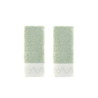 Set of two face cloths in 100% cotton with sangallo lace