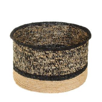 Woven raffia basket with flared shape